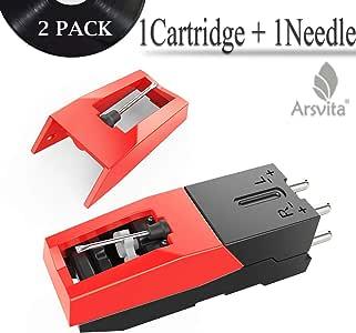 Arsvita Record Player Cartridge,钻石触针替换件,适用于转盘、LP、电话/电话机(2 包)