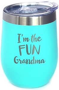 Fun Grandma - 带滑盖的葡萄酒杯 - 无柄不锈钢保温杯 - 有趣的户外露营礼物 蓝*