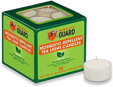 驱蚊器驱蚊茶蜡烛(16支装)采用天然植物成分制成 - 香茅、柠檬草、迷迭香、雪松油 - 不含食用