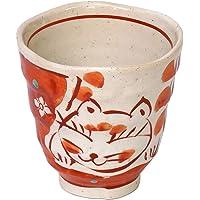 万叶庵 茶杯 猫砂 红色 直径8.2厘米 轻茶杯 888/10202