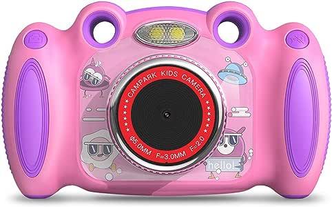 Campark 儿童相机,适合4-8岁年龄段男孩女孩的生日礼物,双重自拍,2英寸屏幕录像,视频游戏,防震儿童数码相机,适合学龄前儿童