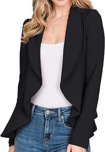 CLOVERY 女式长袖开衫轻质前开式办公室西装,加大码
