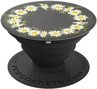 可爱雏菊花朵 Margarita 灰色 | 美丽的洋甘菊花朵 – PopSockets 手机和平板电脑的手柄支架260027  黑色