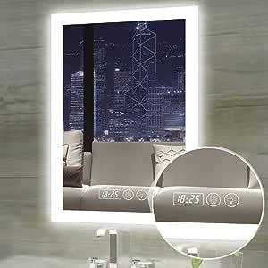 Gesipor LED 浴室镜子照明壁挂式梳妆台安装智能浴室镜+防雾触摸屏*温度(摄氏度)开关调光器颜色亮度+IP44 防水+CRI>90