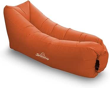 Spaceboy 充气躺椅吊床沙发! 非常适合室内/室外使用。 悬挂或充气休闲椅,适用于野营野餐和更多 橙色 43224-8474