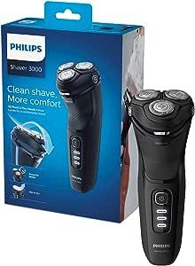 Philips 飞利浦 新系列 3000 干湿两用男士电动剃须刀,带 5D 枢轴和动力切割刀片,闪亮黑色 -S3233/52