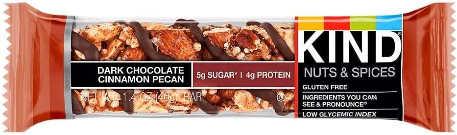KIND 黑巧克力棒 肉桂山核桃,无麸质,低糖,1.4盎司/40克,12个