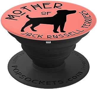 有趣的 Jack Russell Terrier Dog Lover Mom 珊瑚粉 PS14102 - PopSockets 手机和平板电脑用支架。260027  黑色