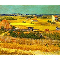 Wieco Art 大码收获Van Gogh 作品 油画 复制品 抽象帆布印刷品 高清印刷 油画艺术品 适合家庭和办公室…