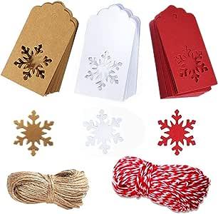 纸牌牛皮纸圣诞标签悬挂标签圣诞树雪花设计圣诞礼物喜爱,DIY 工艺品婚礼用品,150 件 30 米细绳 1 A-150