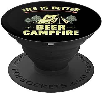 使用啤酒和野营露营 PopSockets 手机和平板电脑的握把和支架260027  黑色