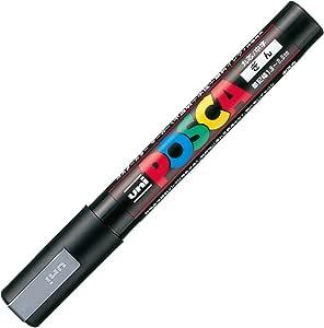 三菱铅笔 水性笔 POSCA 中字 圆芯 銀 10本