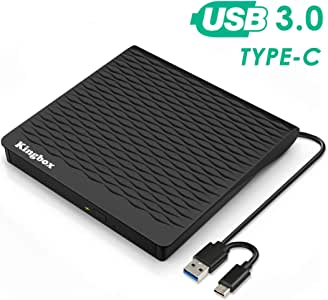 外部 DVD 驱动器,Kingbox USB 3.0/Type C 双端口便携式超薄 DVD 驱动器,DVD 播放器高速数据传输完美适用于 Mac OS/Win7/Win8/Win10/Vista PC 台式笔记本电脑
