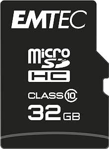 Emtec ECMSDM32GHC10CG 32GB microSDHC 存储卡 带 SD 适配器 Class 10 microSDXC 兼容 黑色