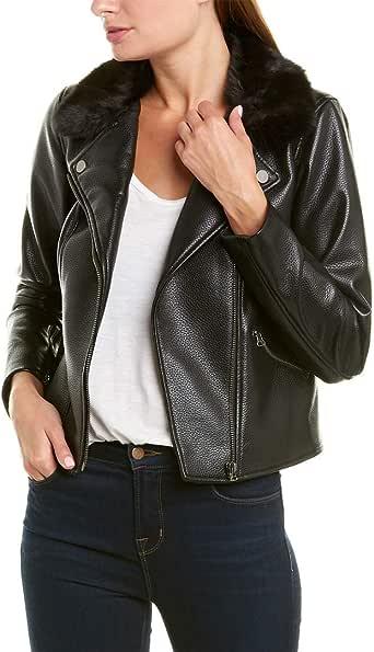 1.State 女式秋季仿皮摩托车夹克(小码,黑色)