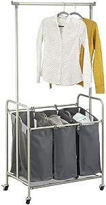 mDesign 便携式洗衣分类机,带轮子和钢制挂杆 Satin/Charcoal 10222MDL