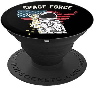 Funny Space Force Bae Astronaut 太空船 Apollo Stars PopSockets 手机和平板电脑握架260027  黑色