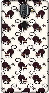 AMZER 修身手工设计师图案卡扣式硬壳后盖带屏幕清洁套件皮肤,适用于诺基亚 8 SiroccoAMZ601040074268 Spooky Spider