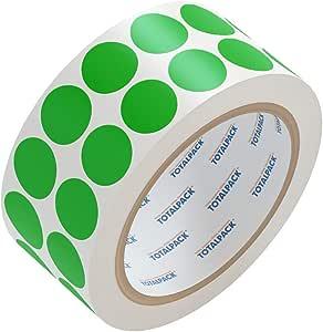 TOTALPACK 出品的 1000 多彩 1.27cm 圆点贴纸 - 永久性粘合圆形贴纸适合移动、储存、库存、组织、颜色编码、标签、艺术等等 - 易剥离和贴白色哑光 1 Roll Green Flourescent