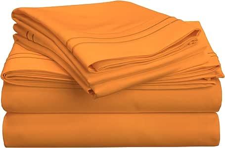 800支,高级 long-staple 精梳棉,单层,深口袋床单套装,双人床 XL 码,金色带金色刺绣
