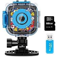 iMoway 儿童相机防水摄像机 适合儿童高清 1080P 儿童数码相机摄像机 带 16GB 存储卡和读卡器 蓝色