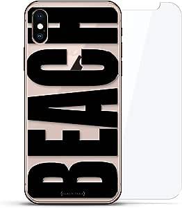 奢华隐形,酷炫设计,钢化玻璃背板,360 度保护膜,适用于 iPhone Xs MaxLUX-IMXGL360-BEACH2 LIFESTYLE: BOLD BLACK BEACH 透明