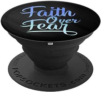 紫色蓝色*水彩 Faith Over Fear On 黑色 - PopSockets 手机和平板电脑握架260027  黑色