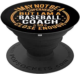 Not Superhero 棒球教练礼物 - 有趣的棒球教练 PopSockets 手机和平板电脑握架260027  黑色