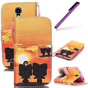 盖乐世 S4 手机壳,LEECOCO 时尚 3D 浮雕钱包手机壳带卡/现金插槽【支架】防震优质 PU 皮翻盖手机壳适用于三星 Galaxy S4 I9500 [A] Sunset & Two Toy