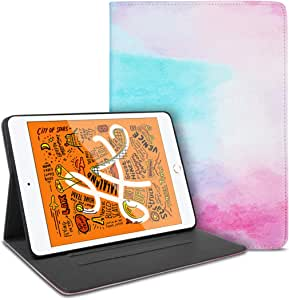 IBAWLY iPad Mini 5 保护壳 2019 印花纤薄轻巧折叠对开保护套带防震软 TPU 背面适用于 iPad Mini 5,自动唤醒/*智能保护套,适用于 iPad Mini 5 代 2019 iPad Mini 5th Gen 7.9''