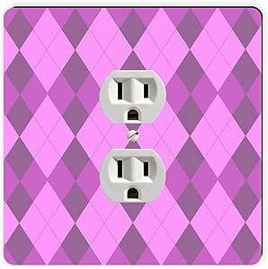 Rikki Knight Triple Purple within Purple Argyle Single Outlet Plate