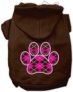Mirage Pet Products 12 英寸菱形爪粉色丝网印花宠物连帽衫 棕色 中