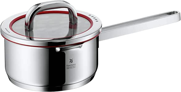 WMF 平底锅 直径 16 厘米 约 1.4 升 4 种功能 内部刻度 带有 4 种倾析功能的盖子 德国制造 空心把手 玻璃盖 Cromargan 不锈钢 抛光 感应 可使用洗碗机清洗