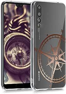 kwmobile 水晶手机壳 华为 P20 Pro - 柔软弹性 TPU 硅胶保护套 - 透明44226.35_m000935 Navigational Compass rose gold/transparent