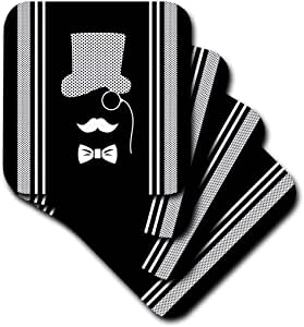 3dRose black and White Gent with Monocle and Polkadot Stripes - Ceramic Tile Coasters, Set of 4 (cst_220295_3)