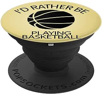 Id Rather Be Playing 篮球,黄色篮球,白色 PopSockets 手机和平板电脑握架260027  黑色