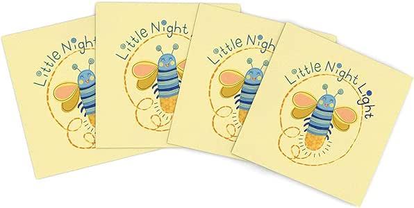 Kess InHouse Jane Smith 小夜虫黄色蓝色户外餐垫,38.1 x 38.1 厘米,4 件套