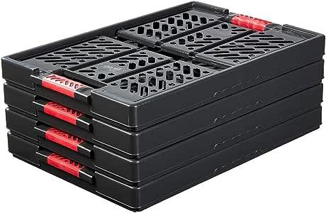 keeeper 4 x Stabile 专业折叠箱,带柔软触感,54 x 37 x 28 厘米,45 升,Ben,石墨灰