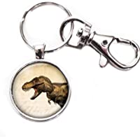 T Rex 恐龙 - 银色钥匙链带玻璃图像,大号龙虾爪