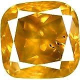 0.62 克拉靠垫形状 (5 x 5 毫米) 花式黄棕色钻石真宝石