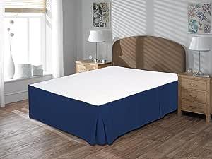Comfort Beddings 亚马逊奢华 800TC 床裙 53.34cm 裙深 * 埃及长绒棉中号双人床 黑色 纯色 Nevy 蓝色 Queen ABAB6067