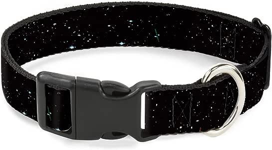 """带扣塑料夹圈 - 太阳能系统太阳/行星/星星 Deep Space2 黑色/白色 1/2"""" Wide - Fits 6-9"""" Neck - Small"""