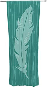 Kess InHouse Jaidyn Erickson 羽毛装饰薄纱窗帘套装,76.2 厘米 x 213.36 厘米