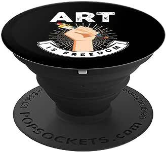 Art is Freedom | 艺术老师或艺术学生 PopSockets 手机和平板电脑握架260027  黑色