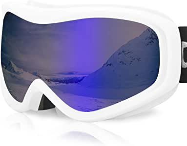 Devembr OTG 滑雪护目镜透明,滑雪护目镜防雾,* 防紫外线,防滑带,头盔兼容雪护目镜,男女通用,滑雪雪地摩托滑冰(黑色/白色框架)