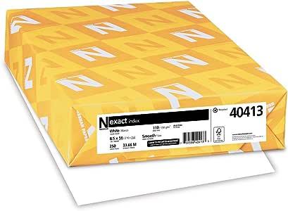 Neenah 精确索引卡片纸,250 张,白色,94 亮度 8.5 x 14/110 lb 白色