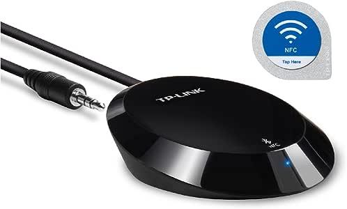 TP-LINK HA100 高清蓝牙立体声音频音乐接收器适配器,采用 NFC 技术,适用于 iPhone、iPad、智能手机、平板电脑、笔记本电脑及任何支持蓝牙的设备,3.5 毫米或 RCA 插孔 - 黑色