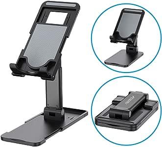 FCXJTU 手机支架,平板电脑支架,可折叠便携式桌面支架,多角度和高度可调节手机支架,适用于书桌,兼容智能手机/iPad/Kindle/平板电脑 黑色