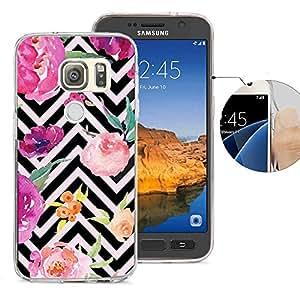 Viewll 适用于三星 S7 Active 手机壳、Galaxy S7 Active 手机壳、Viwell 设计图案手机壳三星 Galaxy S7 Active 手机壳黑色条纹花朵 KAA (68)