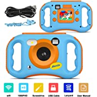 AMKOV WiFi 儿童摄像机充电 1080P 高清数字儿童摄像机,带 4.99 cm LCD 屏幕,7 色滤镜效果…